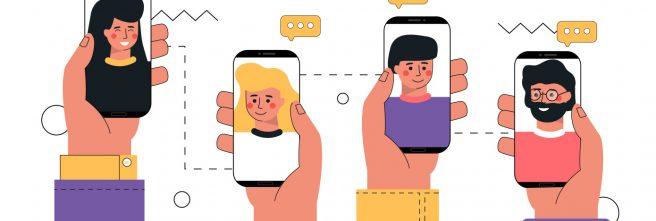 Vector trendy illustration video call concept. Human hand holding a smartphone with man on the screen. Touch screen with a finger. The concept of collaboration, chat, video call, digital communication.